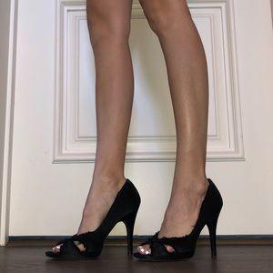 Black satin Pedro Garcia heels